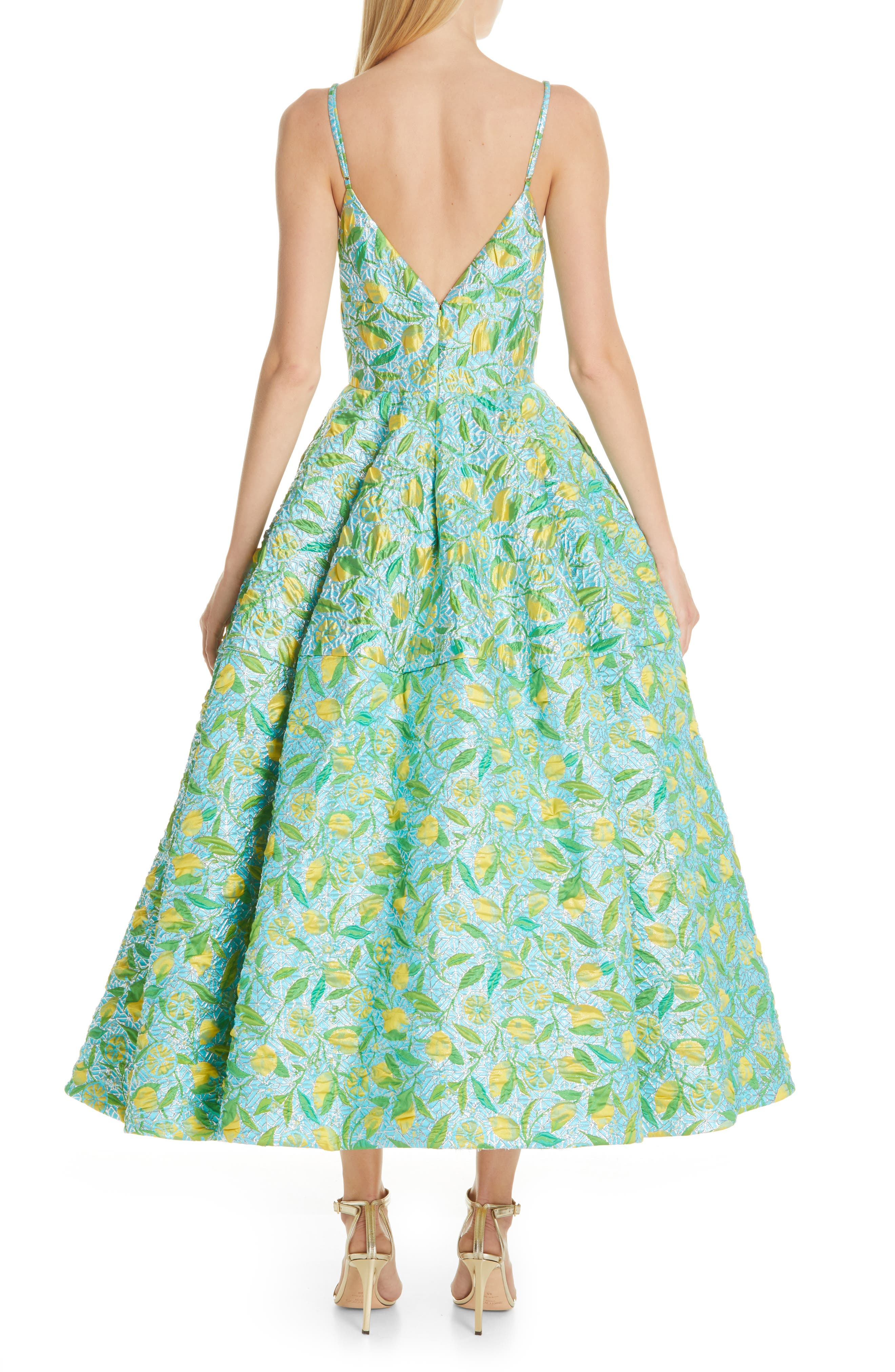 ,                             Floral Evening Dress,                             Alternate thumbnail 2, color,                             LEMON BROCADE