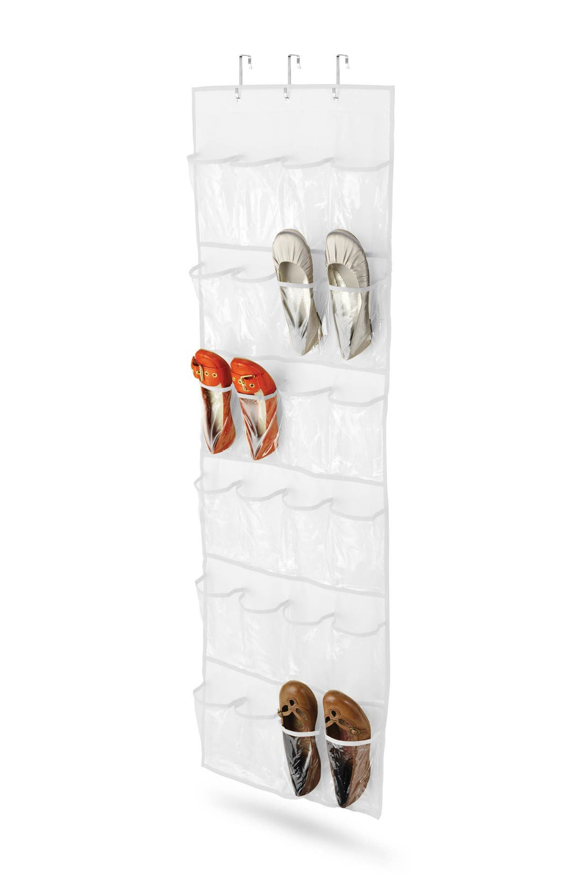Image of Honey-Can-Do White 24 Pocket Over the Door Shoe Organizer