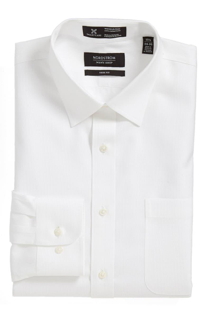 NORDSTROM MEN'S SHOP Nordstrom Smartcare<sup>™</sup> Trim Fit Microdot Dress Shirt, Main, color, 100
