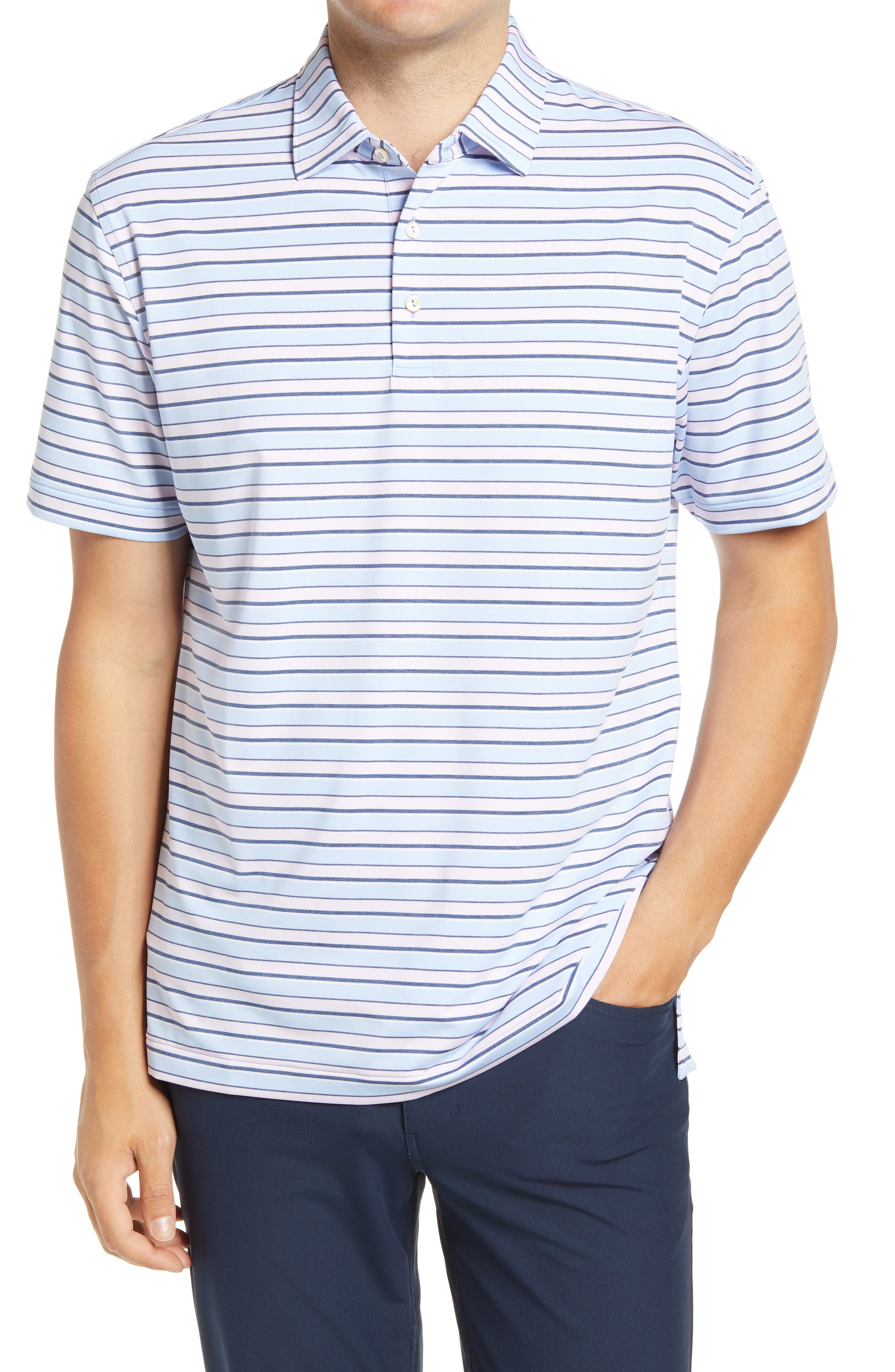 Stretchy, moisture-wicking fabric keeps up with you from links to lunch in a striped golf polo that resists odors and blocks harmful UV rays in any activity. Style Name: Peter Millar Robin Stripe Performance Polo. Style Number: 6092508. Available in stores.