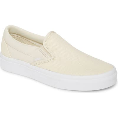 Vans Classic Herringbone Slip-On Sneaker, Ivory