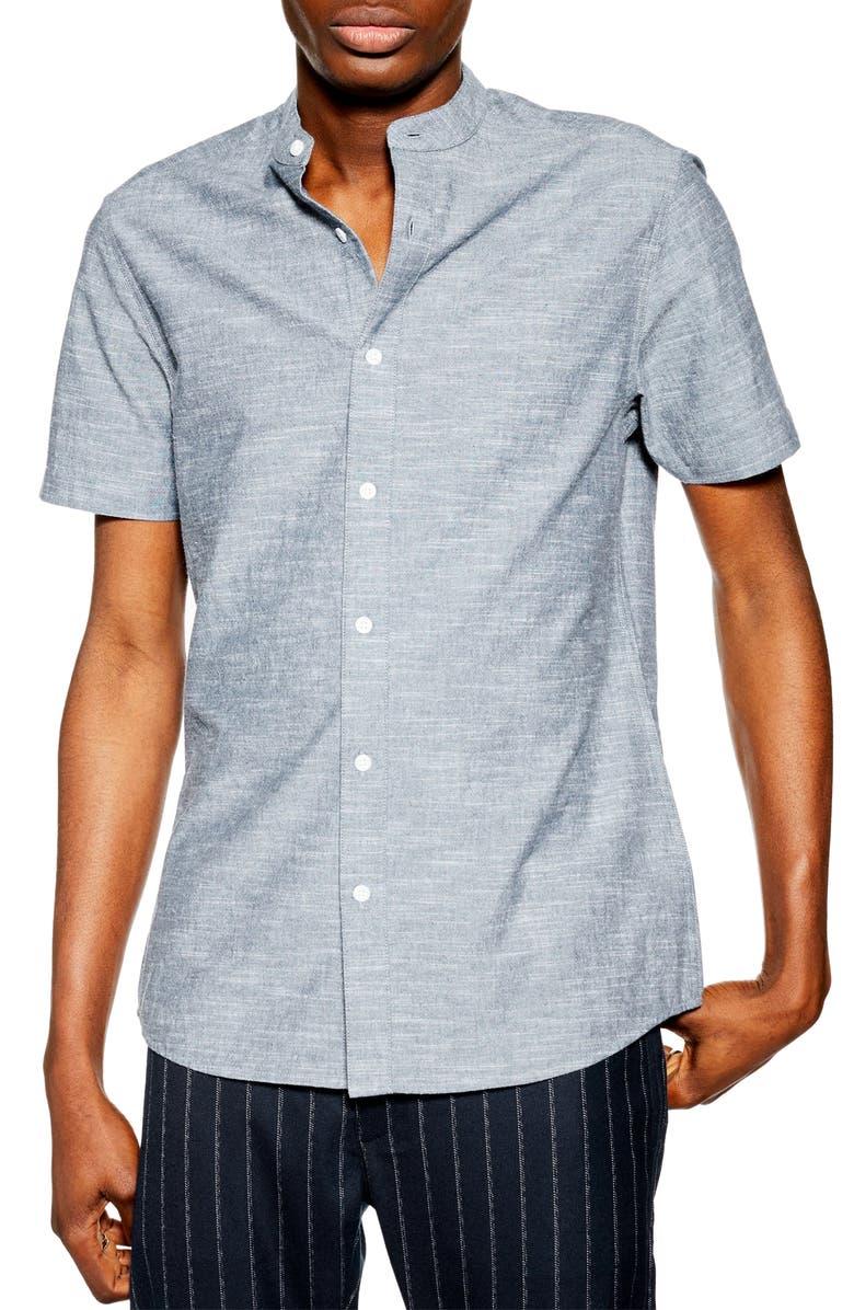 Topman Slim Fit Short Sleeve Chambray Shirt