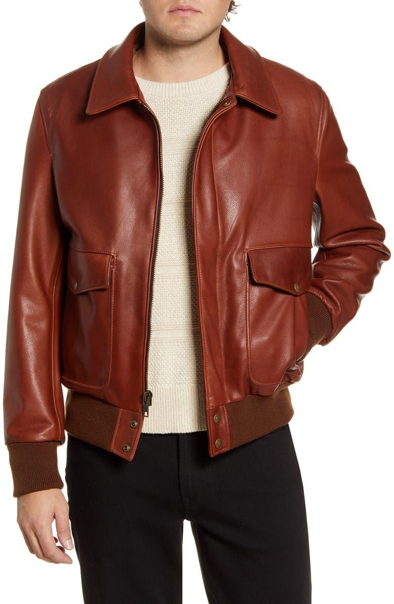 SCHOTT NYC Pebble Texture Leather Bomber Jacket, Main, color, BRANDY