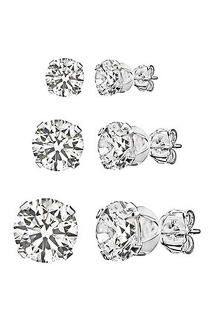 Image of Best Silver Inc. Sterling Silver Round-Cut CZ Stud Earring Set