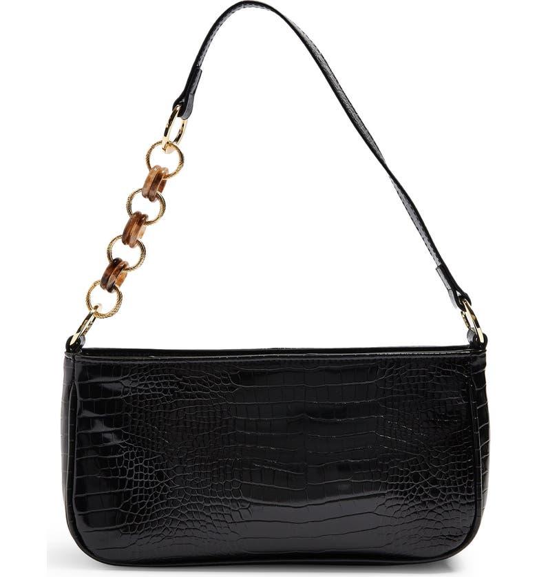 TOPSHOP Spin Snake Print Shoulder Handbag, Main, color, BLACK