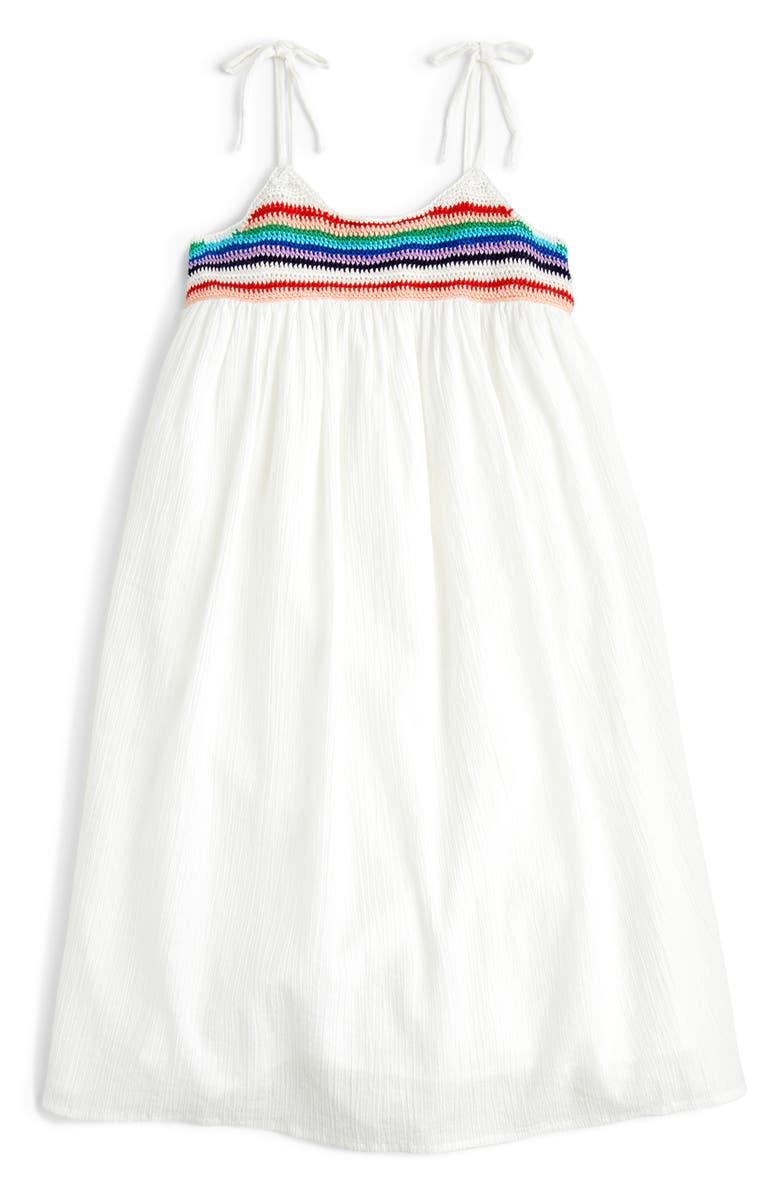 CREWCUTS BY J.CREW Tie Shoulder Dress, Main, color, WHITE