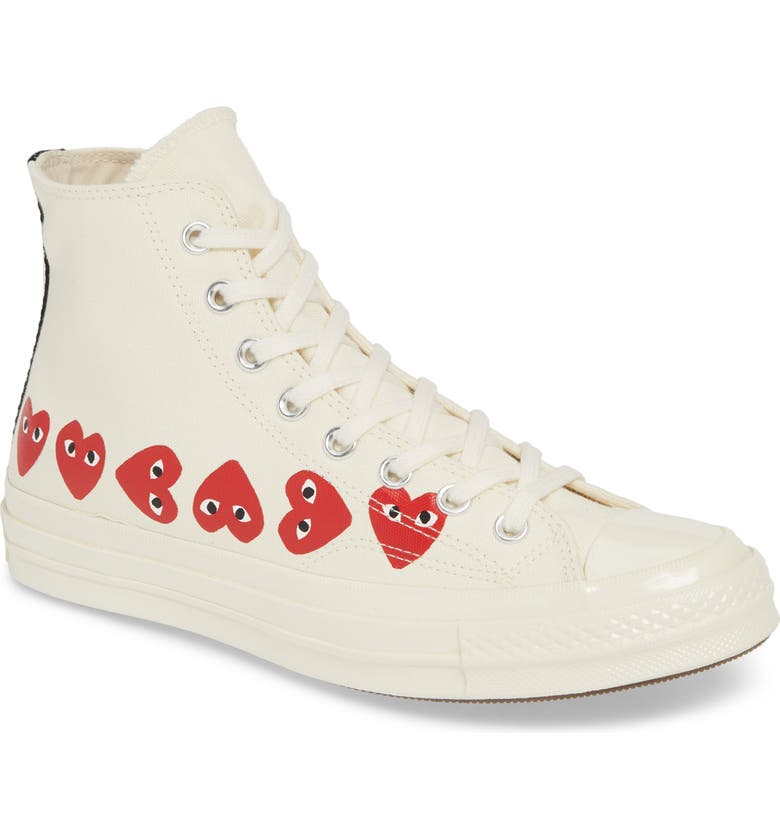 COMME DES GARÇONS PLAY Multiheart Sneaker, Main, color, OFF WHITE