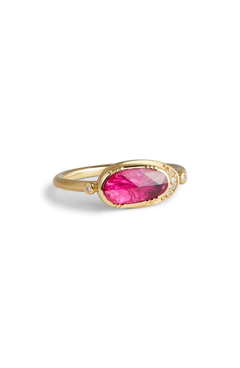 BROOKE GREGSON Ellipse Halo Ruby Ring, Main, color, GOLD