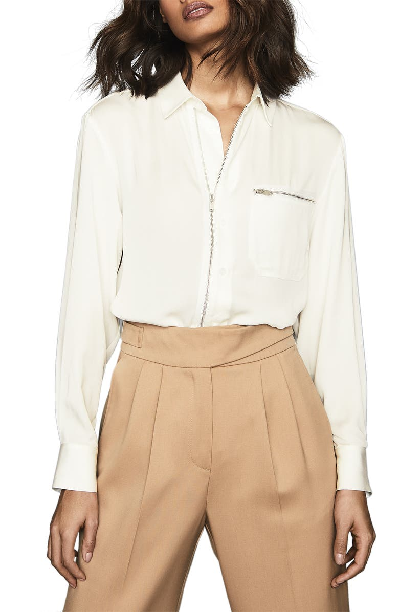 REISS Caro Zip Front Long Sleeve Shirt, Main, color, IVORY