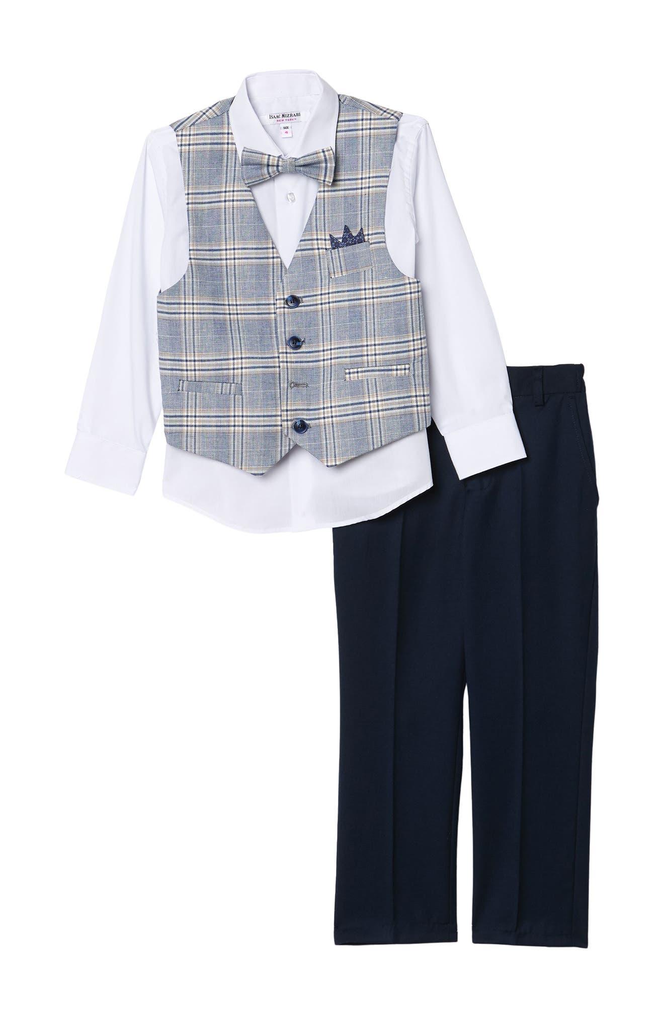 Image of Isaac Mizrahi Check 4-Piece Suit Set