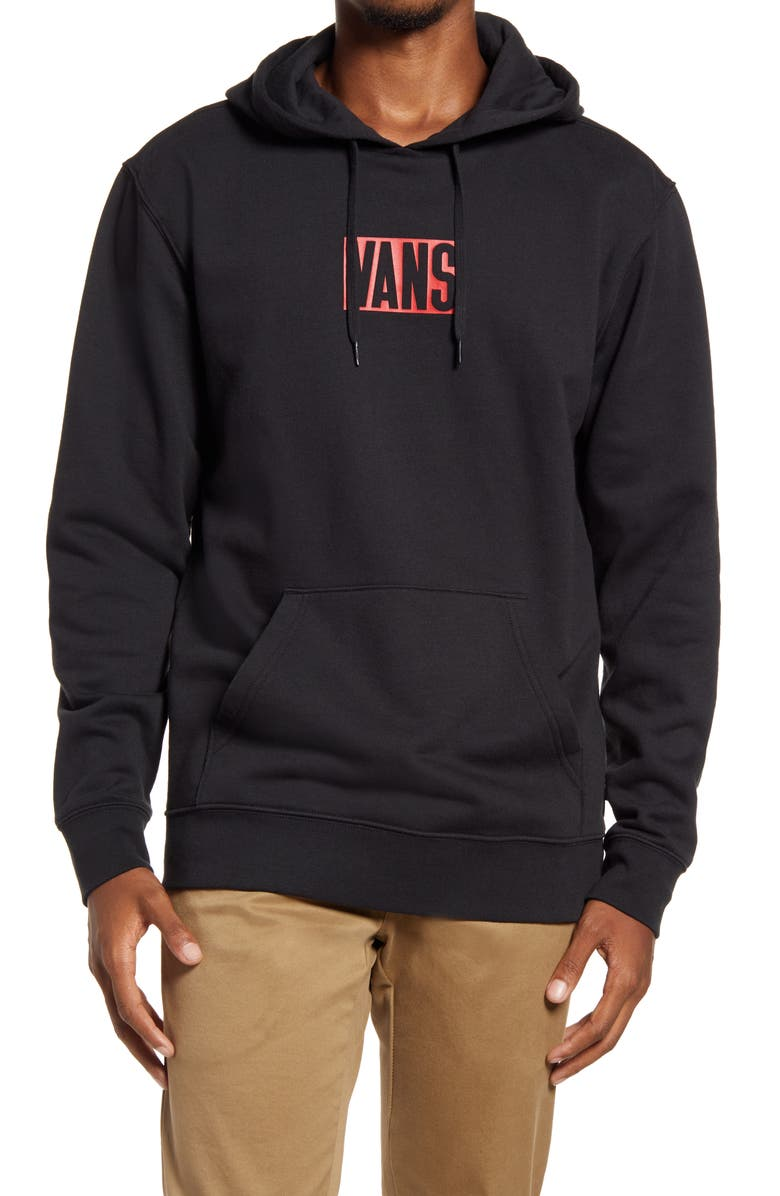 VANS New Stax Logo Men's Hooded Sweatshirt, Main, color, 001