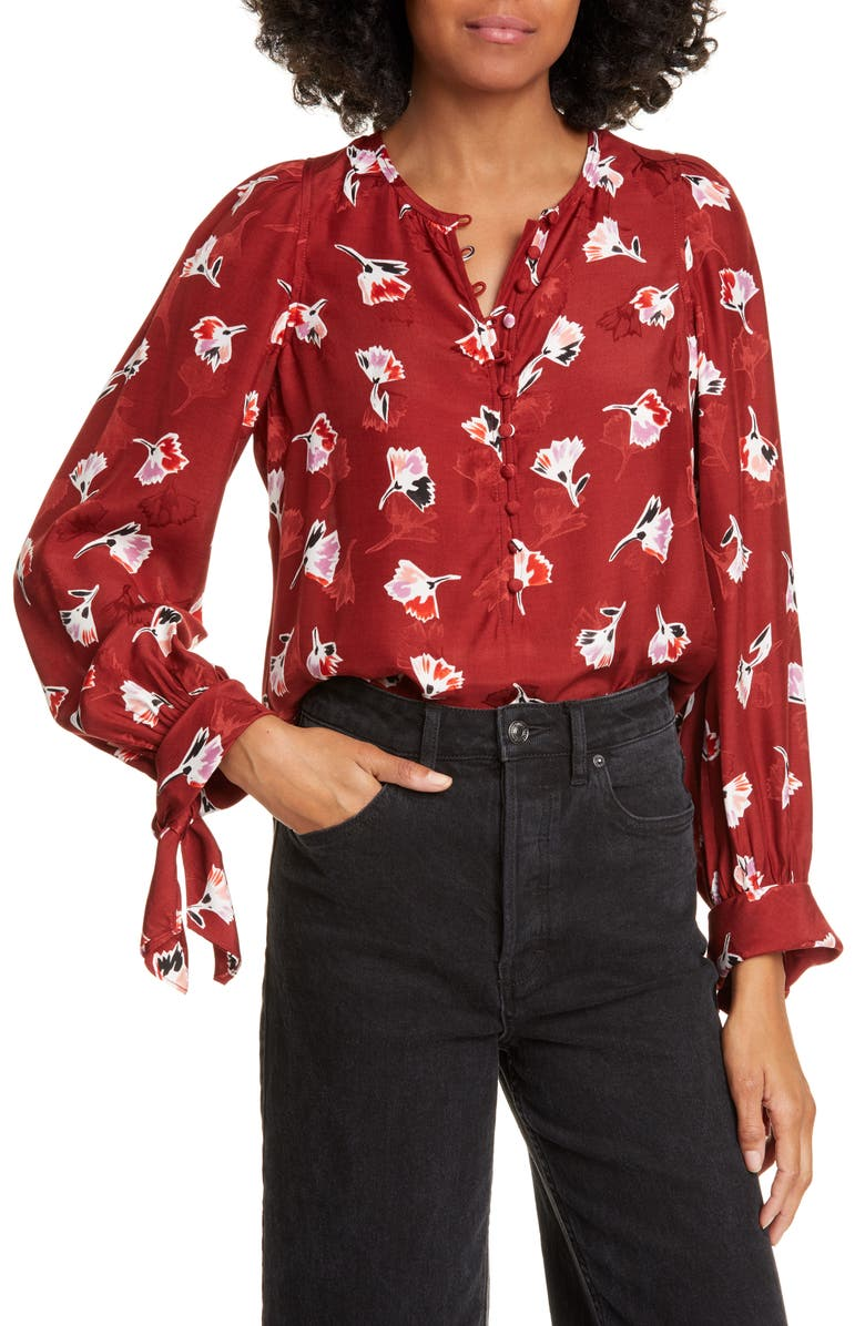 REBECCA TAYLOR Paintbrush Floral Tie Sleeve Silk Blend Top, Main, color, CABERNET COMBO