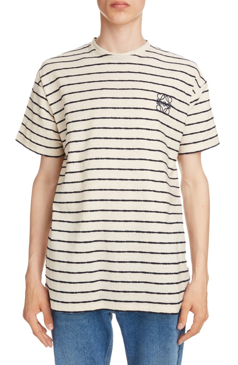LOEWE Anagram Embroidered Stripe T-Shirt, Main, color, 283