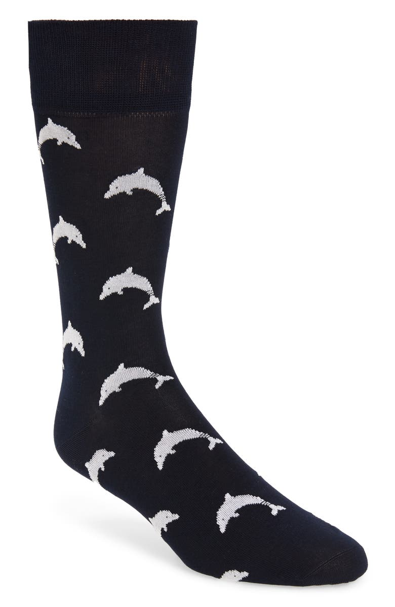 THOM BROWNE Dolphin Icon Socks, Main, color, NAVY