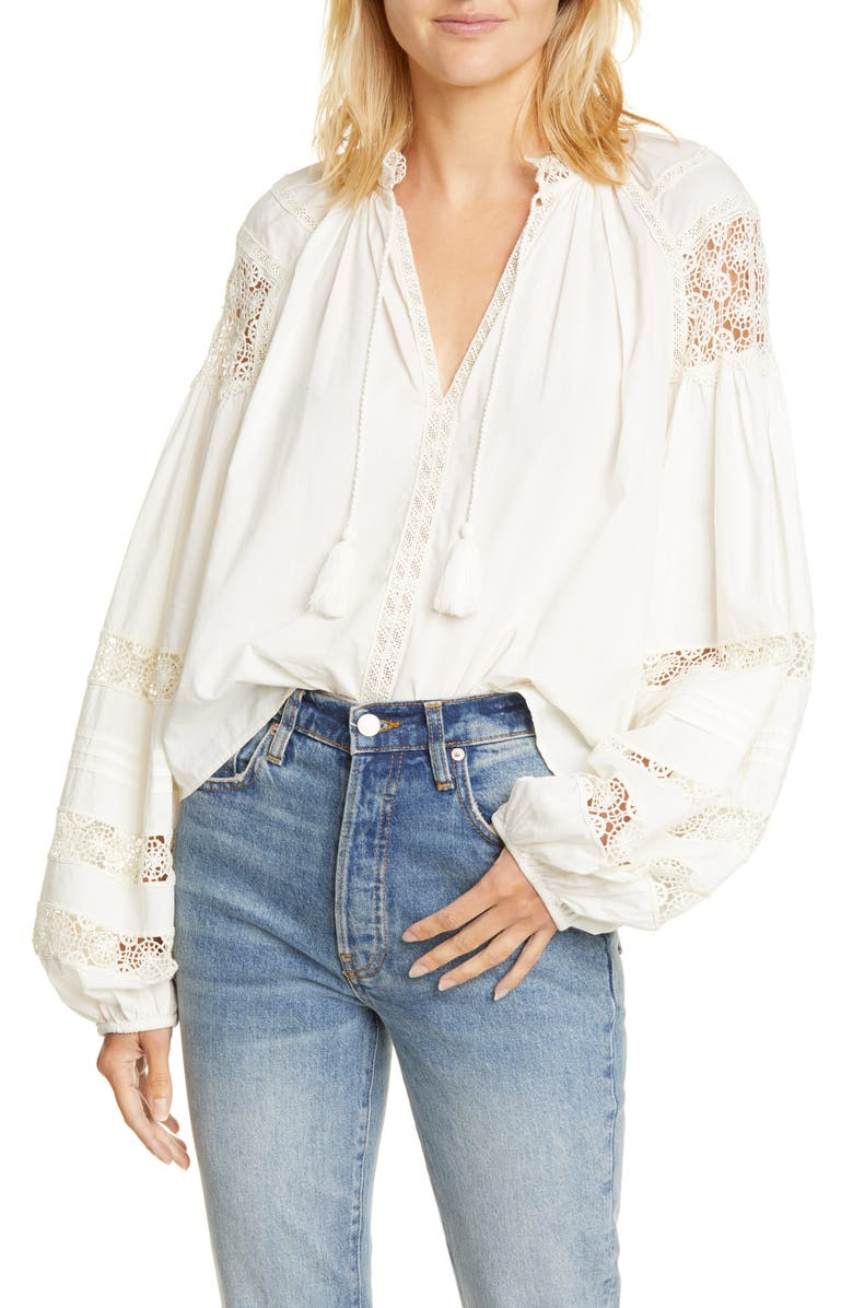 ULLA JOHNSON Gemma Crochet Detail Blouse, Main, color, BLANC