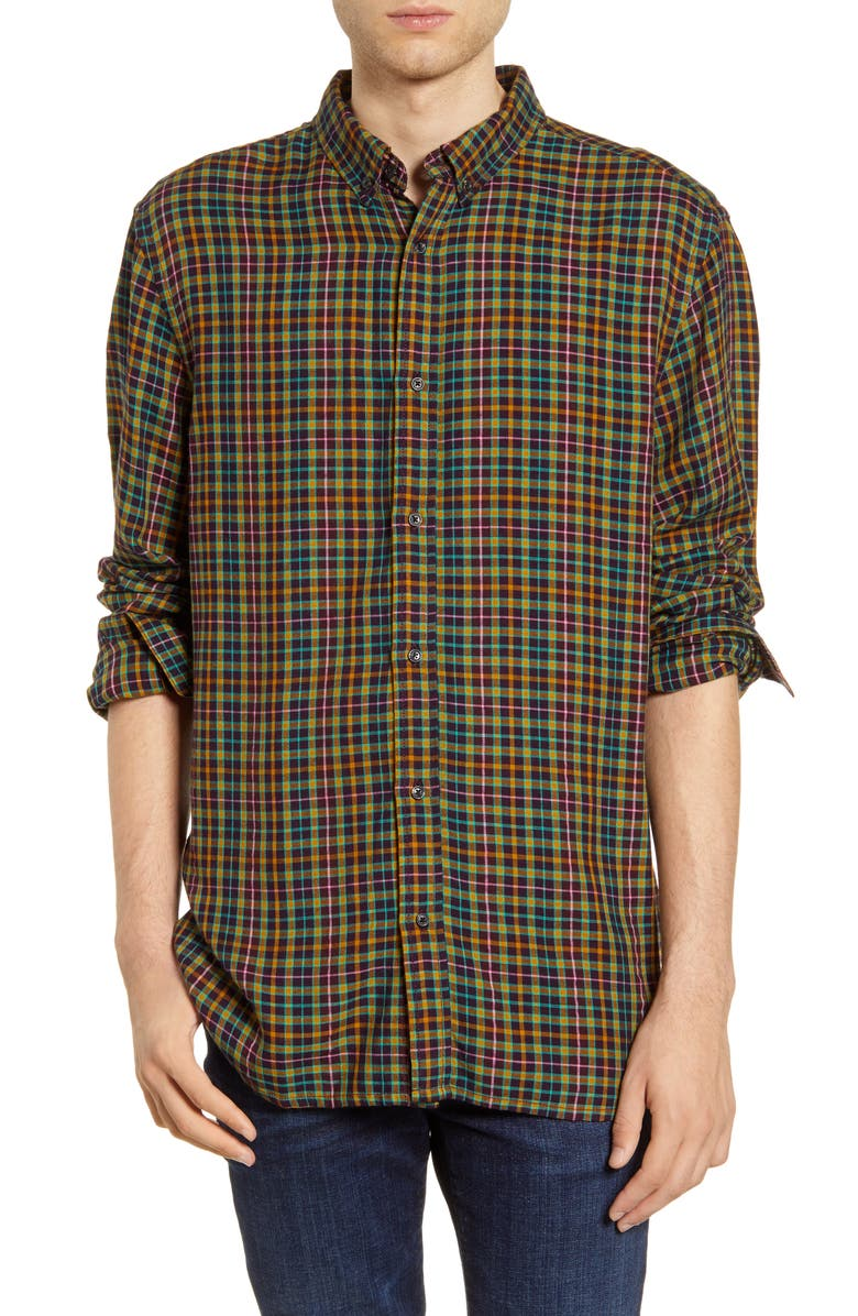 SCOTCH & SODA Plaid Flannel Button-Down Shirt, Main, color, GREEN/ YELLOW