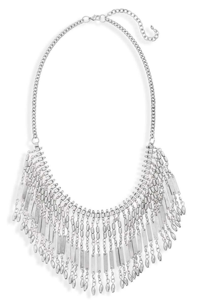 BP. Metal Fringe Statement Necklace, Main, color, 040