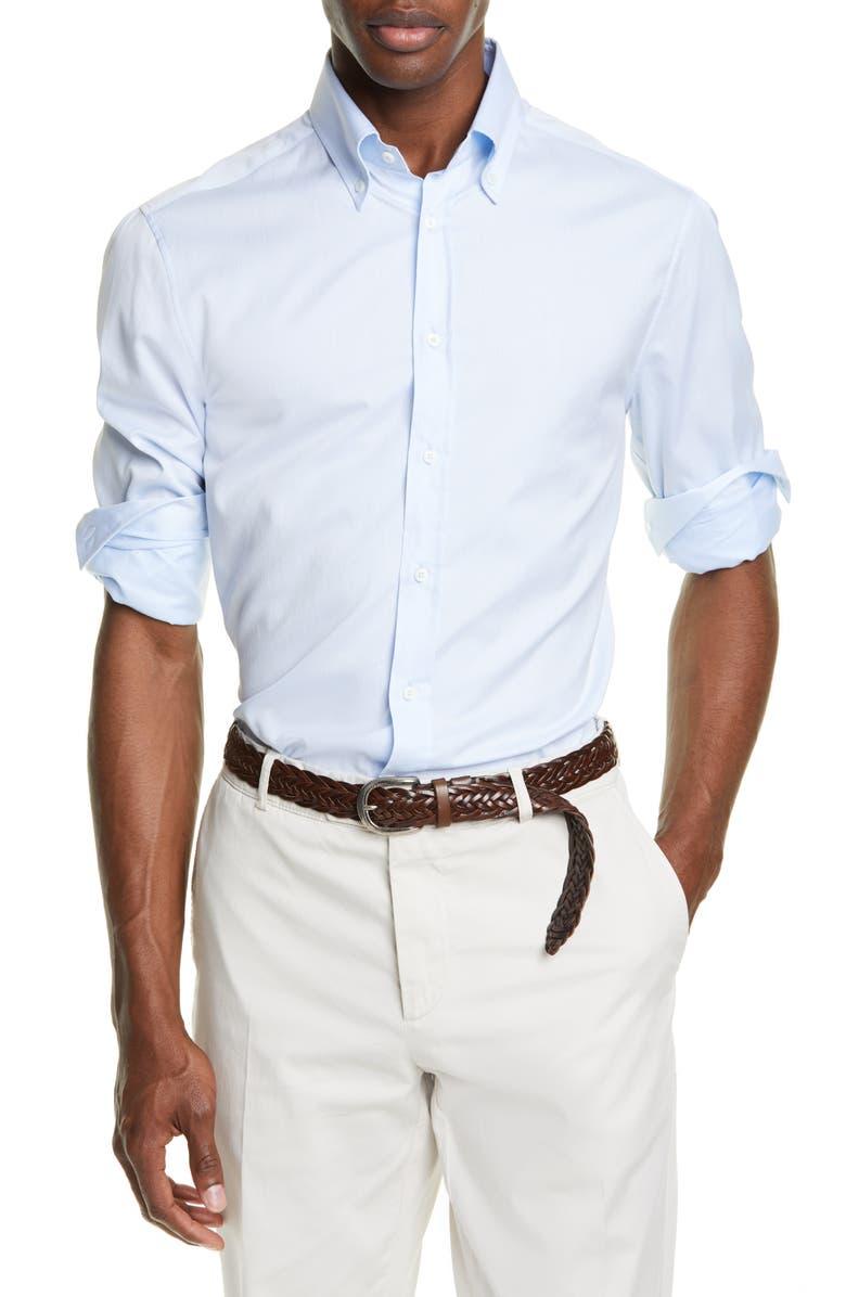 BRUNELLO CUCINELLI Slim Fit Button-Down Sport Shirt, Main, color, CLOUD