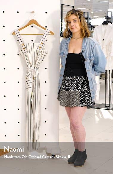 Stripe Tie Waist Wide Leg Crop Linen Blend Jumpsuit, sales video thumbnail