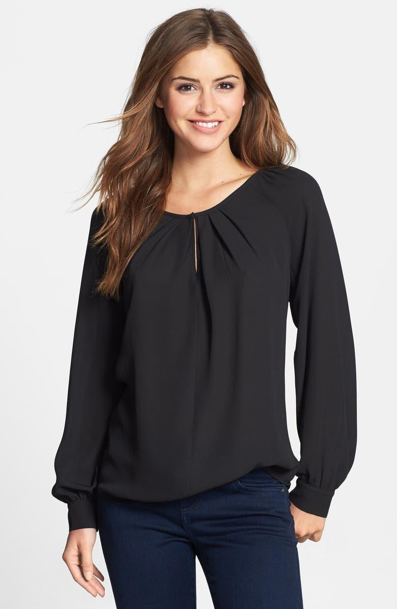 BELLATRIX Pleat Neck Long Sleeve Blouse, Main, color, 001