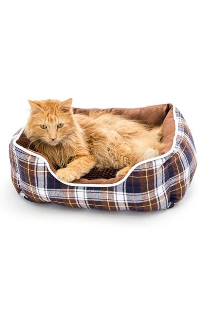 Image of Duck River Textile Braxton Plaid Pet Bed - Chocolate