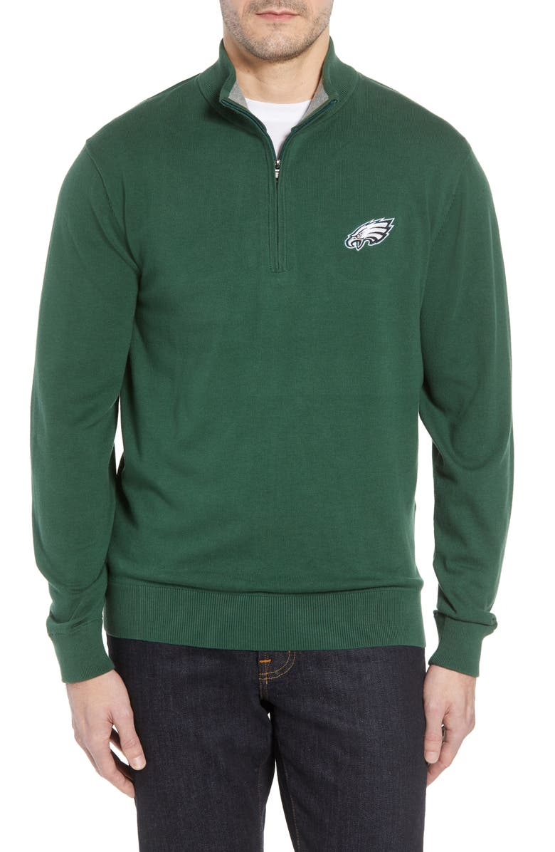 CUTTER & BUCK Philadelphia Eagles - Lakemont Regular Fit Quarter Zip Sweater, Main, color, HUNTER GREEN