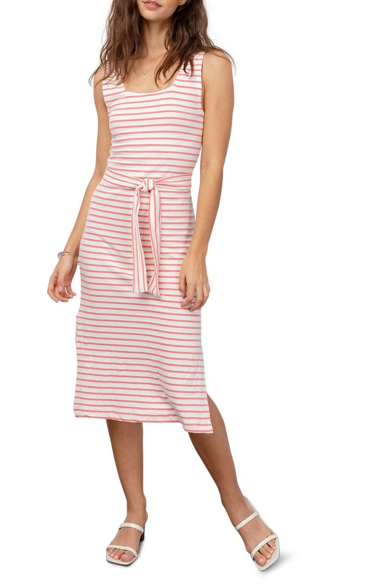 RAILS Taylin Sleeveless Tie Waist Midi Dress, Main, color, IVORY PEONY STRIPE