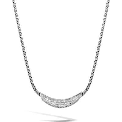 John Hardy Classic Silver Chain Diamond Pave Necklace