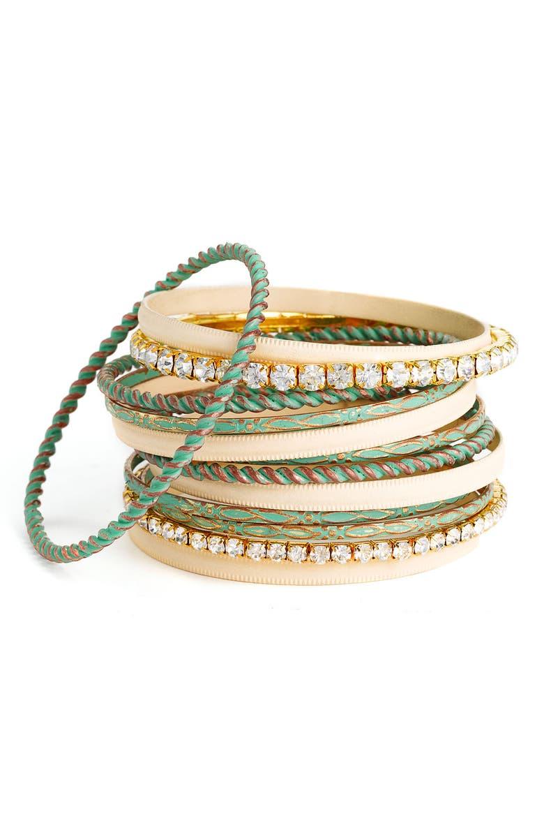 CARA Accessories Crystal & Patina Finish Metal Bangles, Main, color, 440
