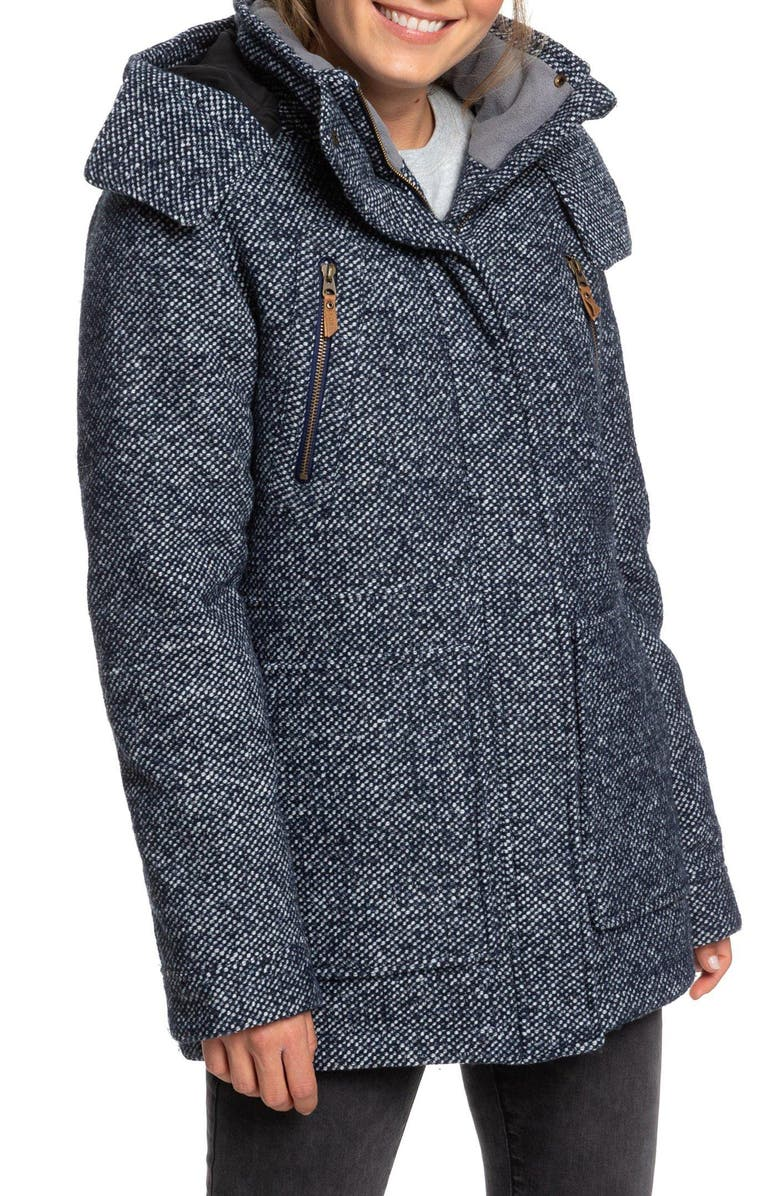 ROXY Dawn Hooded Coat, Main, color, MEDIEVAL BLUE