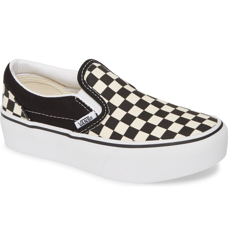 VANS Classic Platform Slip-On, Main, color, BLACK AND WHITE CHECKER/ WHITE