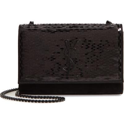 Saint Laurent Kate Paillette Embellished Crossbody Bag - Black