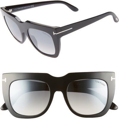Tom Ford Thea 51Mm Mirrored Cat Eye Sunglasses - Shiny Black/ Grey W Silver