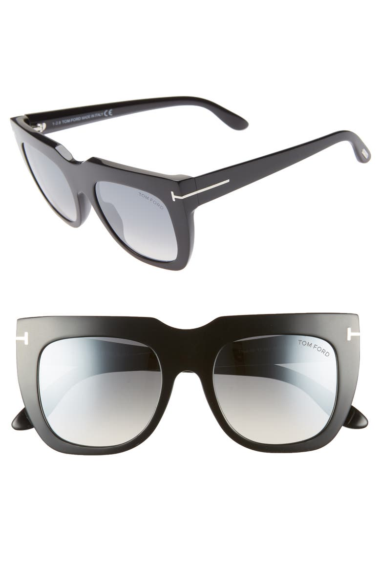 TOM FORD Thea 51mm Mirrored Cat Eye Glasses, Main, color, SHINY BLACK/ GREY W SILVER