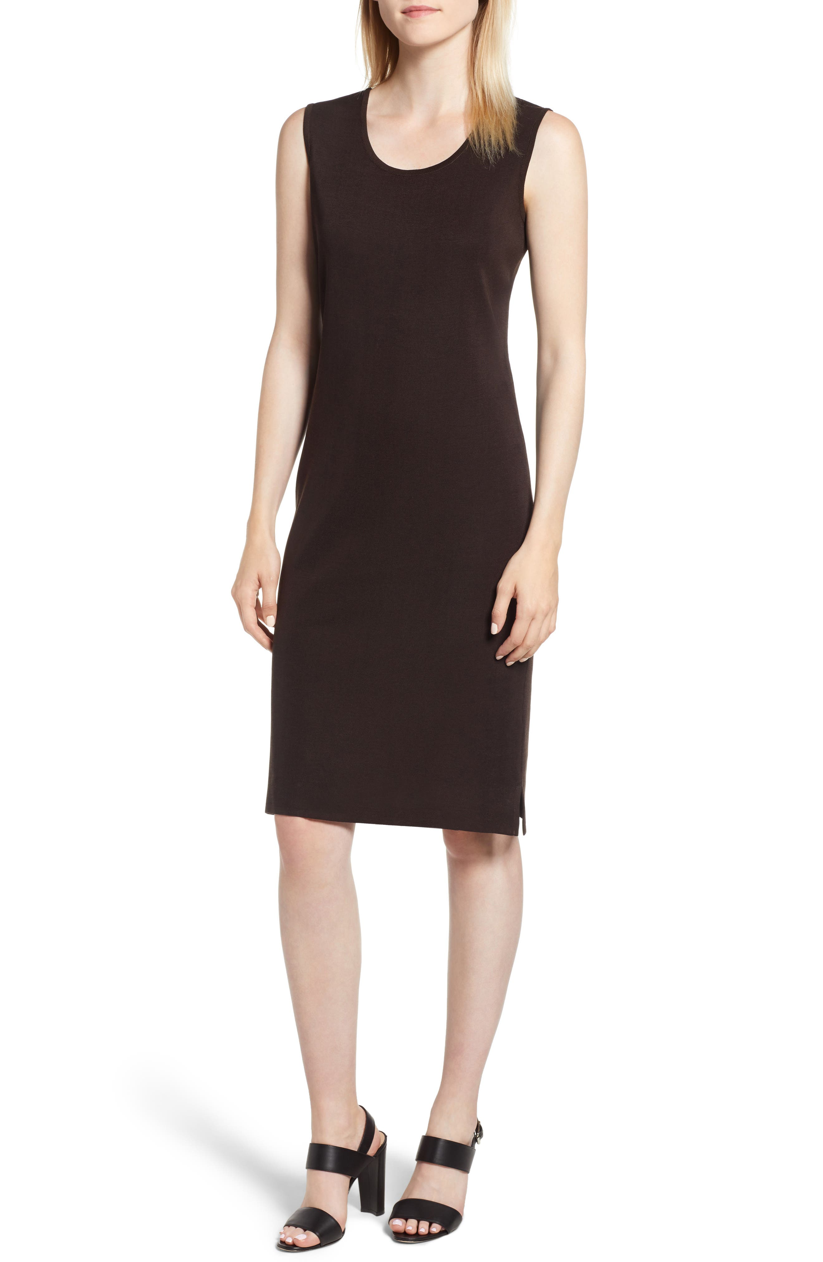 Ming Wang Knit Sheath Dress, Brown