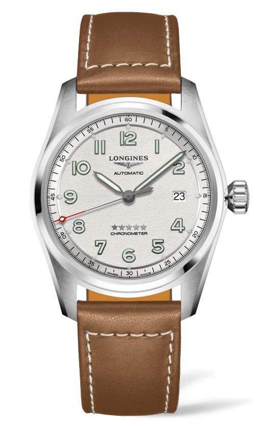 Longines Spirit Automatic Leather Strap Watch, 40mm In Brown/ Silver