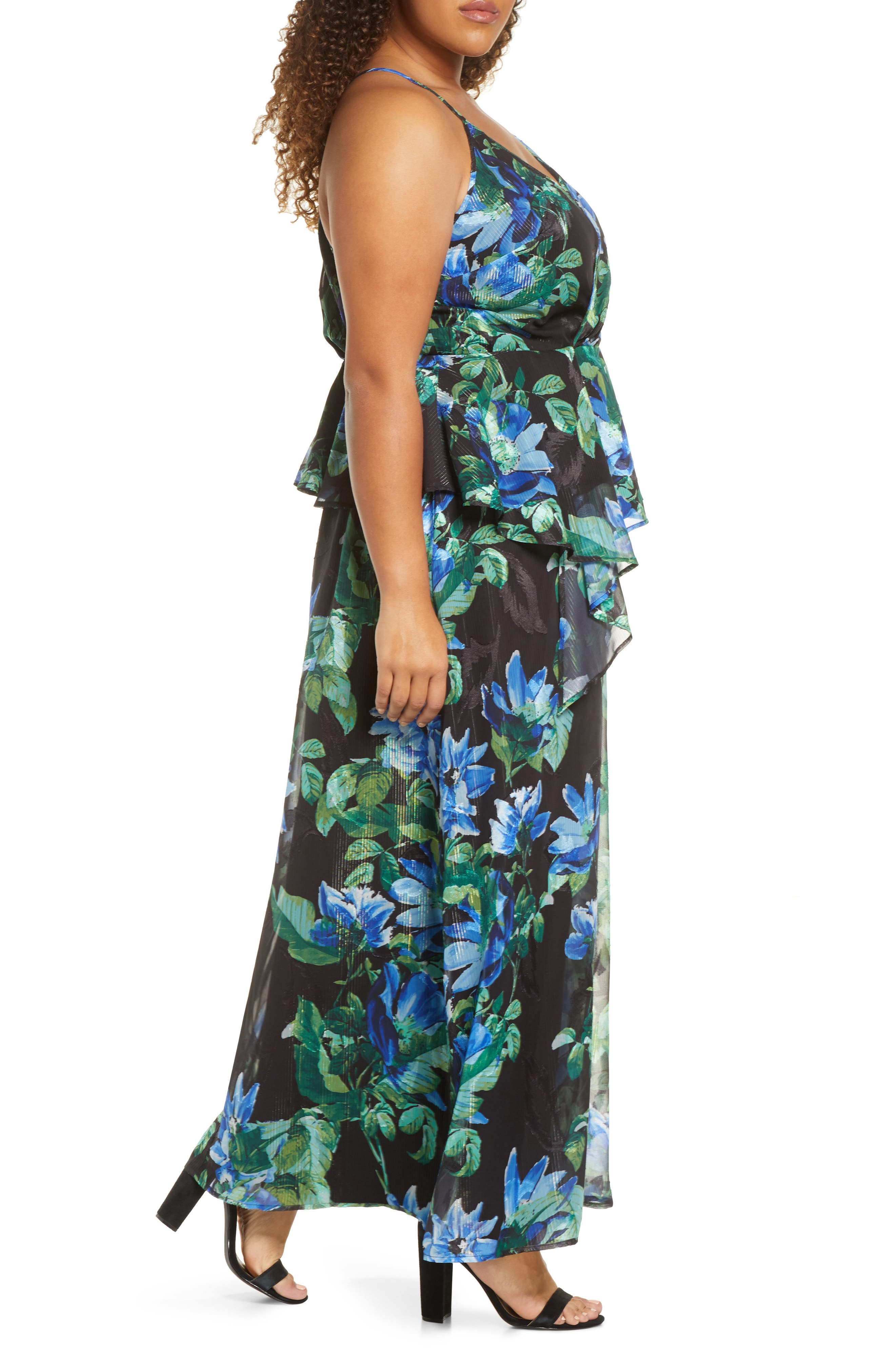 Maree Pour Toi Floral Asymmetrical Maxi Dress