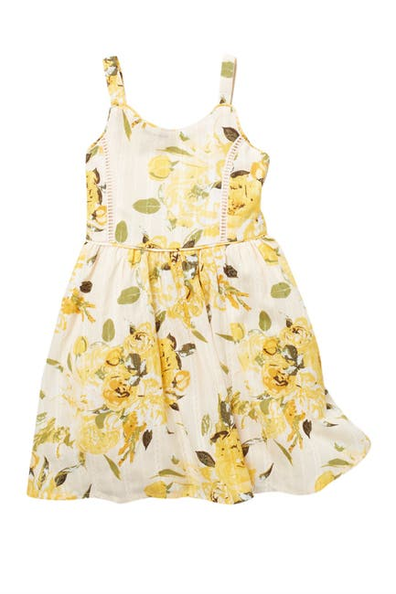 Image of Zunie Sleeveless Cotton Floral Print Dress
