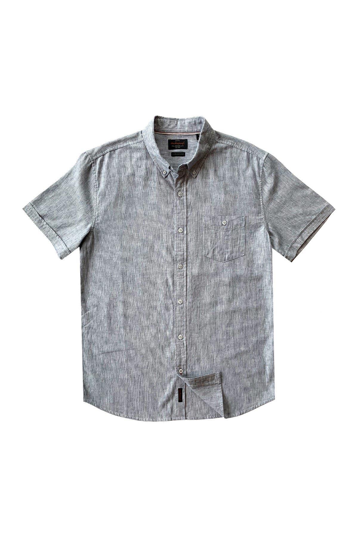 Image of Weatherproof Vintage Ticking Stripe Linen Blend Tailored Fit Shirt