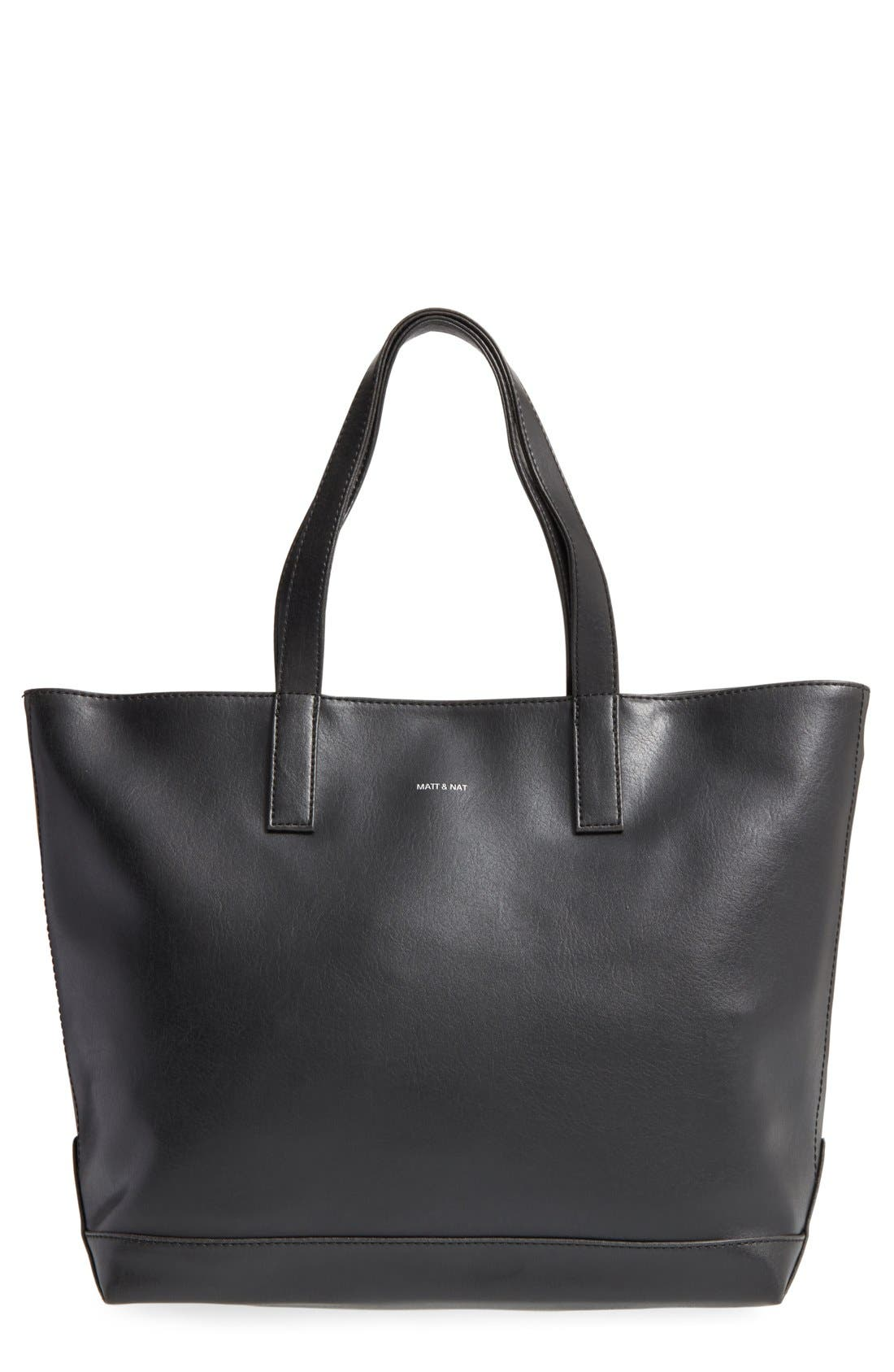 'Schlepp' Faux Leather Tote, Main, color, BLACK