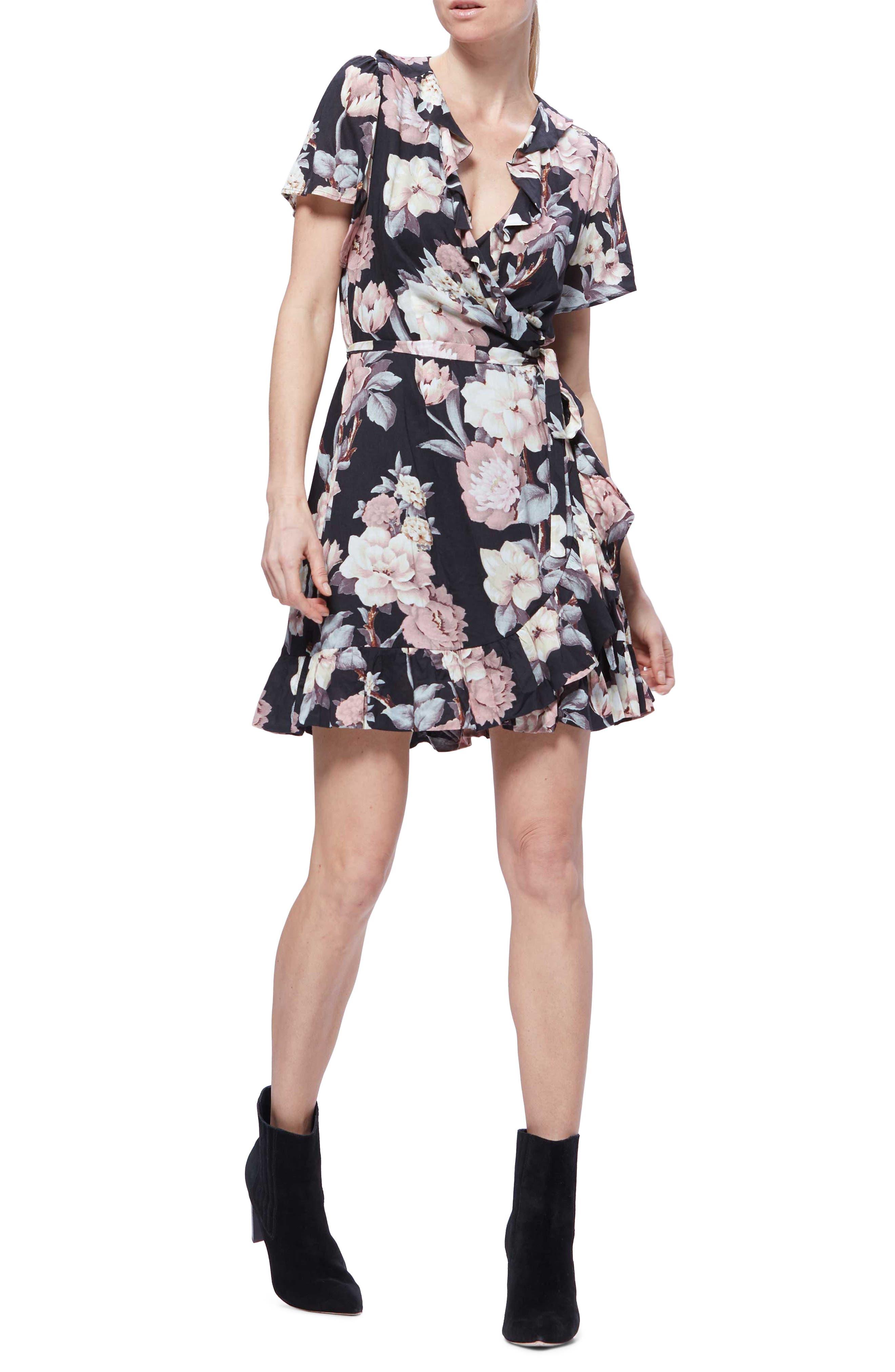 Paige Cardamom Floral Ruffle Detail Minidress