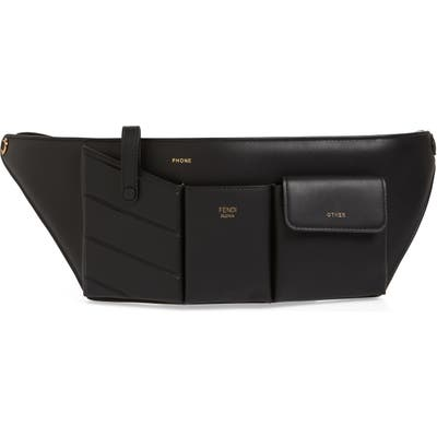 Fendi Calfskin Leather Belt Bag - Black