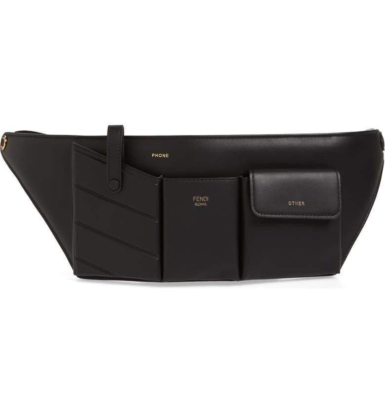 FENDI Calfskin Leather Belt Bag, Main, color, NERO/ ORO SOFT