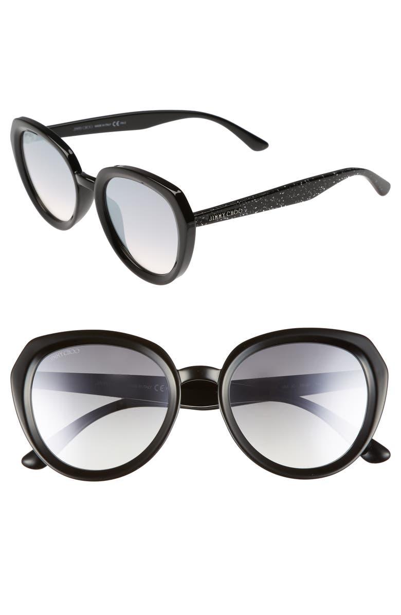 JIMMY CHOO Maces 53mm Oversize Sunglasses, Main, color, 001