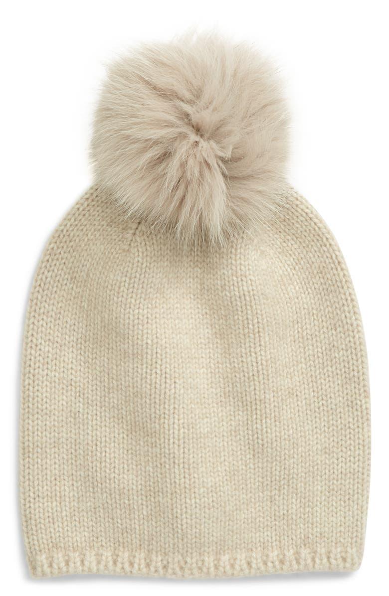 MAX MARA Cashmere Beanie with Genuine Fox Fur Trim, Main, color, 905