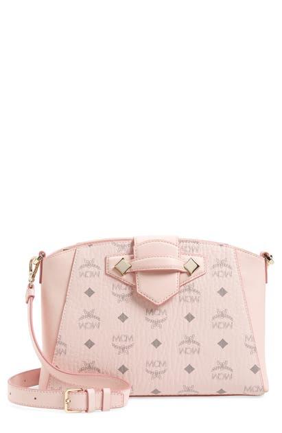 Mcm Essential Visetos Coated Canvas Crossbody Bag In Powder Pink