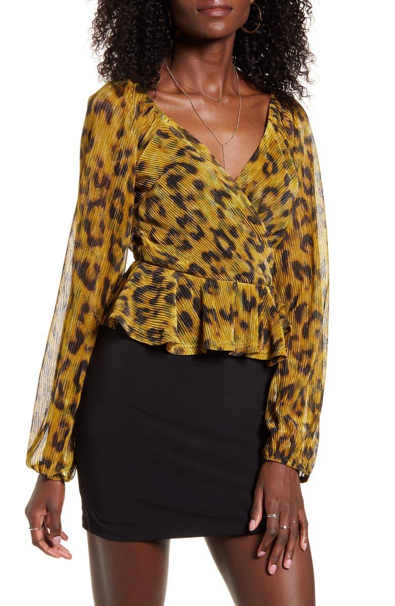 4SI3NNA Annalise Leopard Print Metallic Blouse, Main, color, GOLD LEOPARD