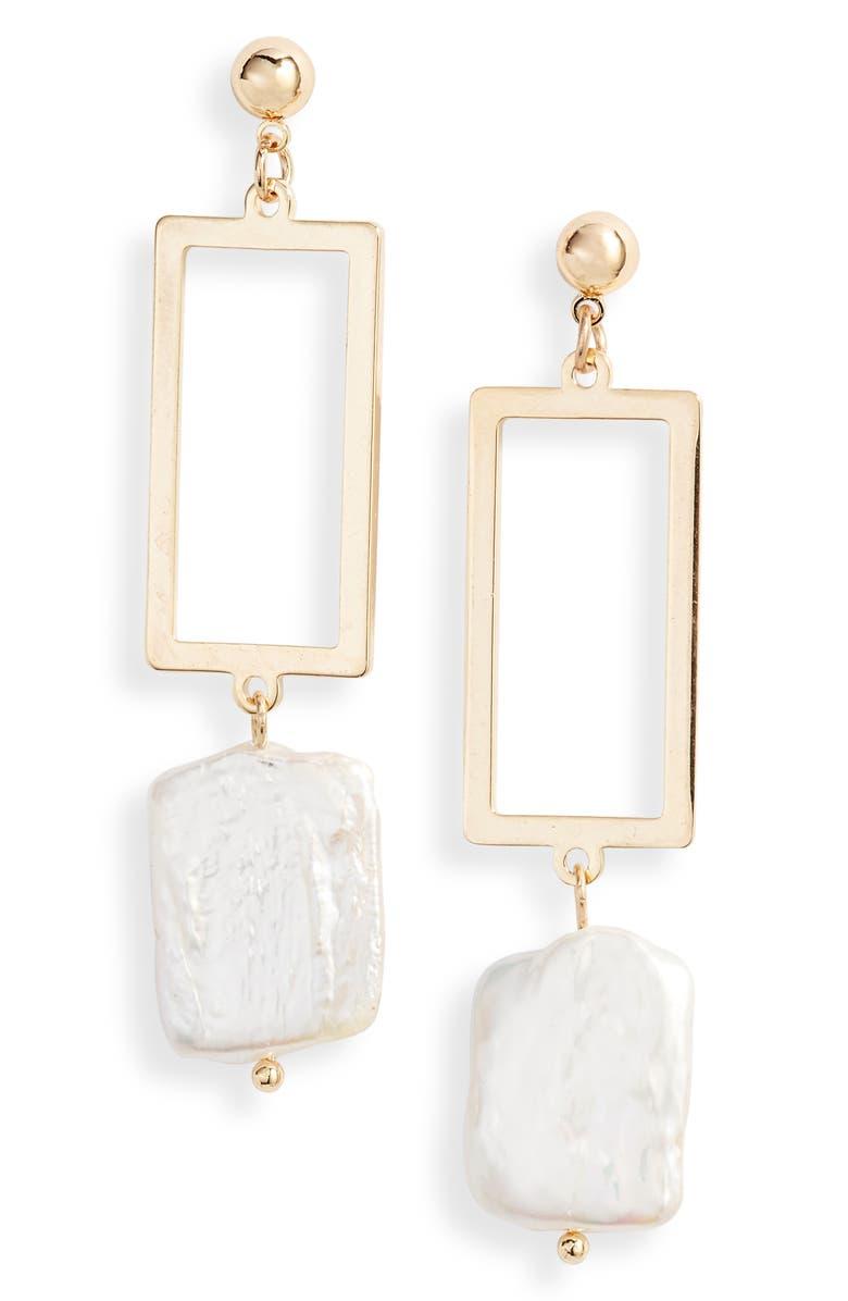 TEN79LA Geometric Genuine Pearl Drop Earrings, Main, color, 710
