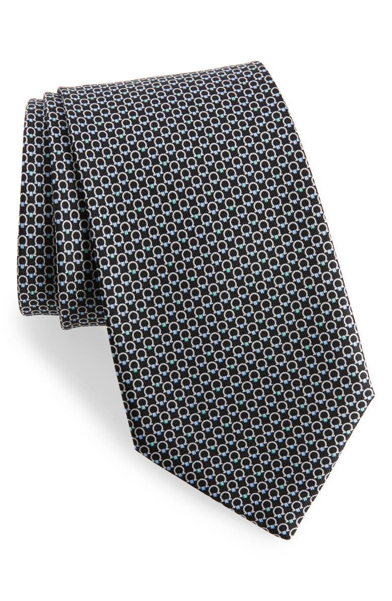 SALVATORE FERRAGAMO Energia Omega Print Silk Tie, Main, color, BLACK