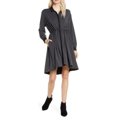 French Connection Ren Contrast Detail Long Sleeve Dress, Black